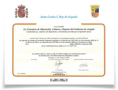 Diploma del Ministerio de Educación, Cultura y Deporte