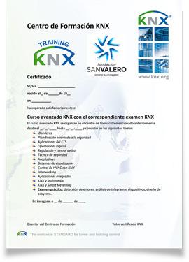 Diploma de la KNX Association y la Fundación San Valero